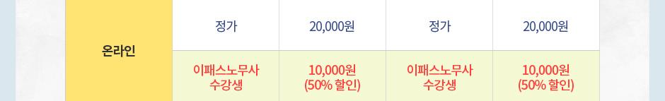 온라인 정가 20,000원 이패스노무사 수강생 10,000원(50%할인)